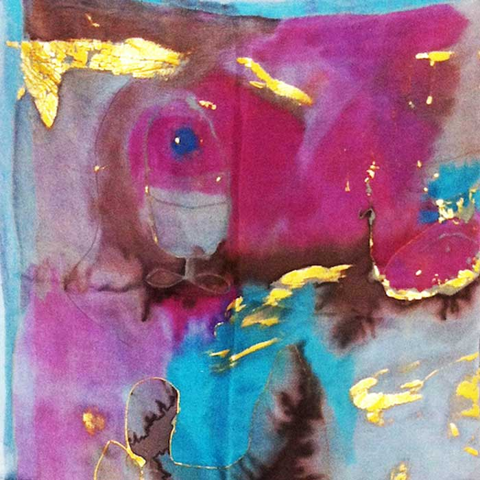 Abstract gold, pink and blue textile print