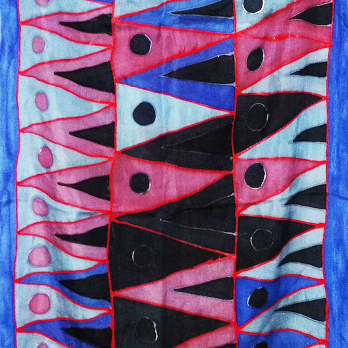Textile print in blue and pink with triangles