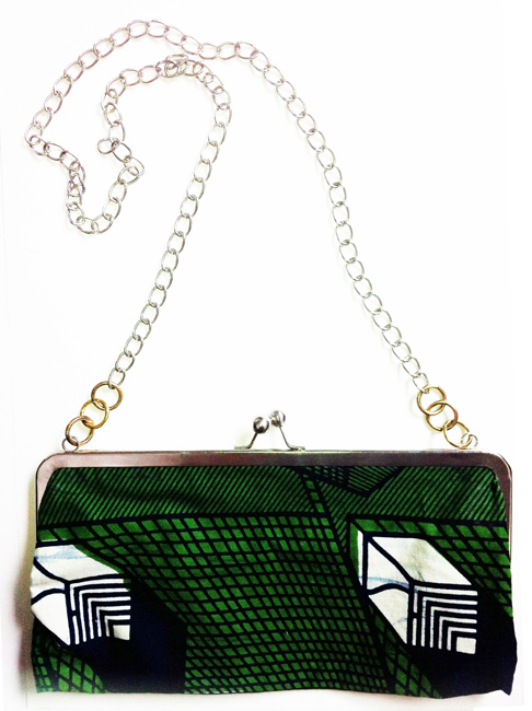small bag with a green textile abstract pattern
