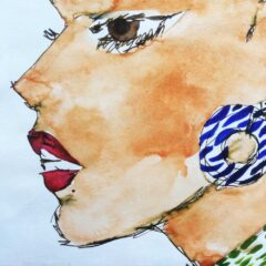 fine line drawing with water colour of a womens profile