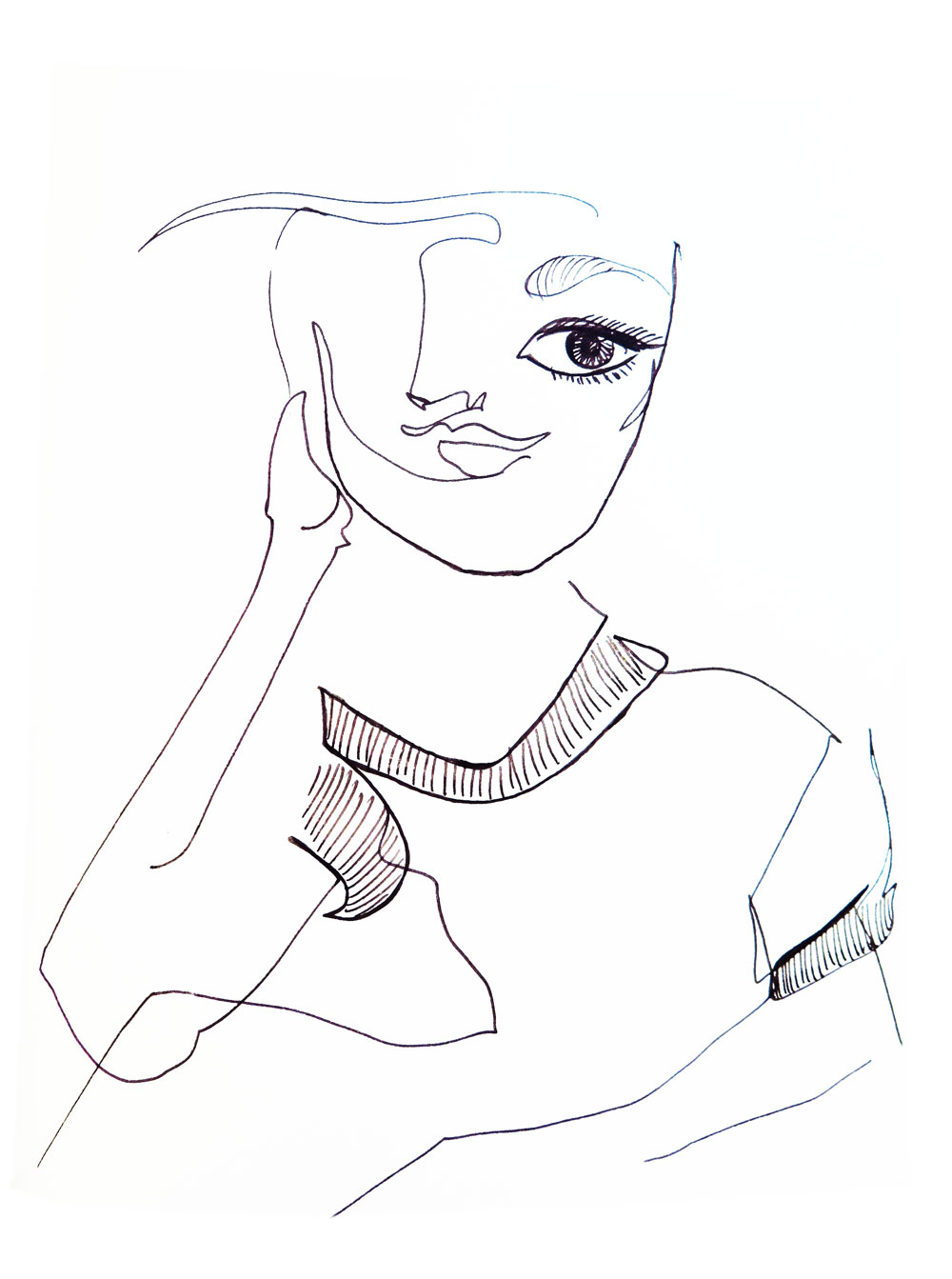 Abstract fine line drawing on a woman on pen on paper