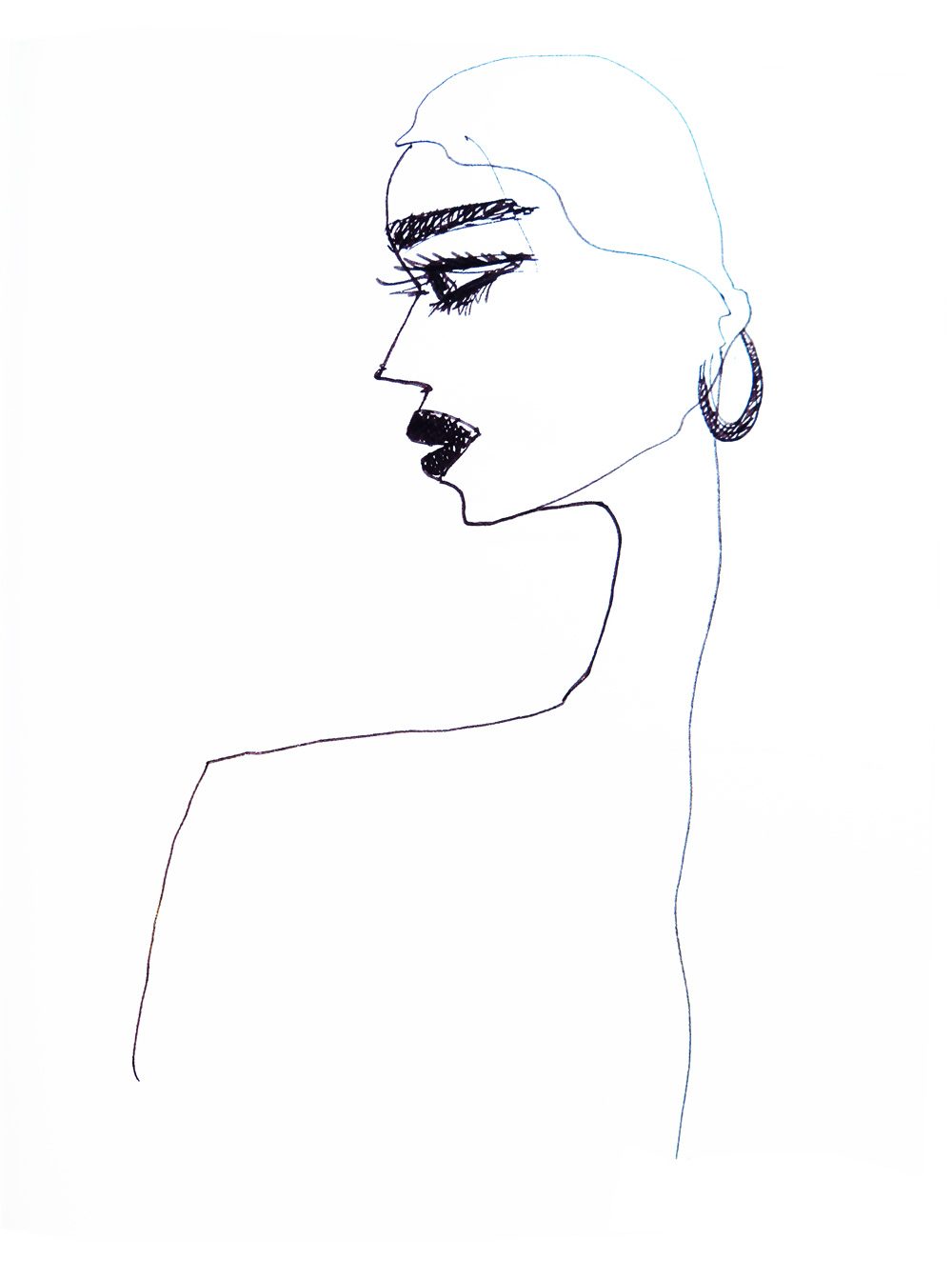 fine line drawing of a womans profile