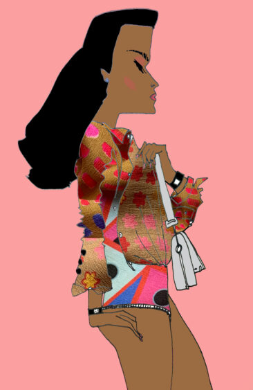hand drawn hindu girl with a original print jacket on behind a pink background