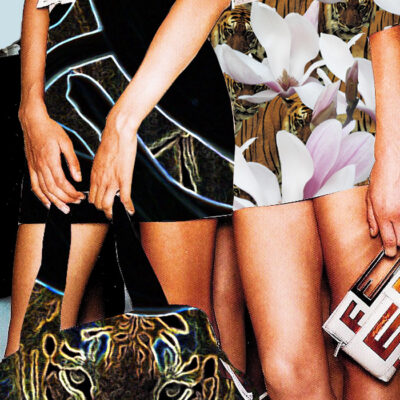 Fashion illustration with two girls dressed in different prints left: in black right: in white