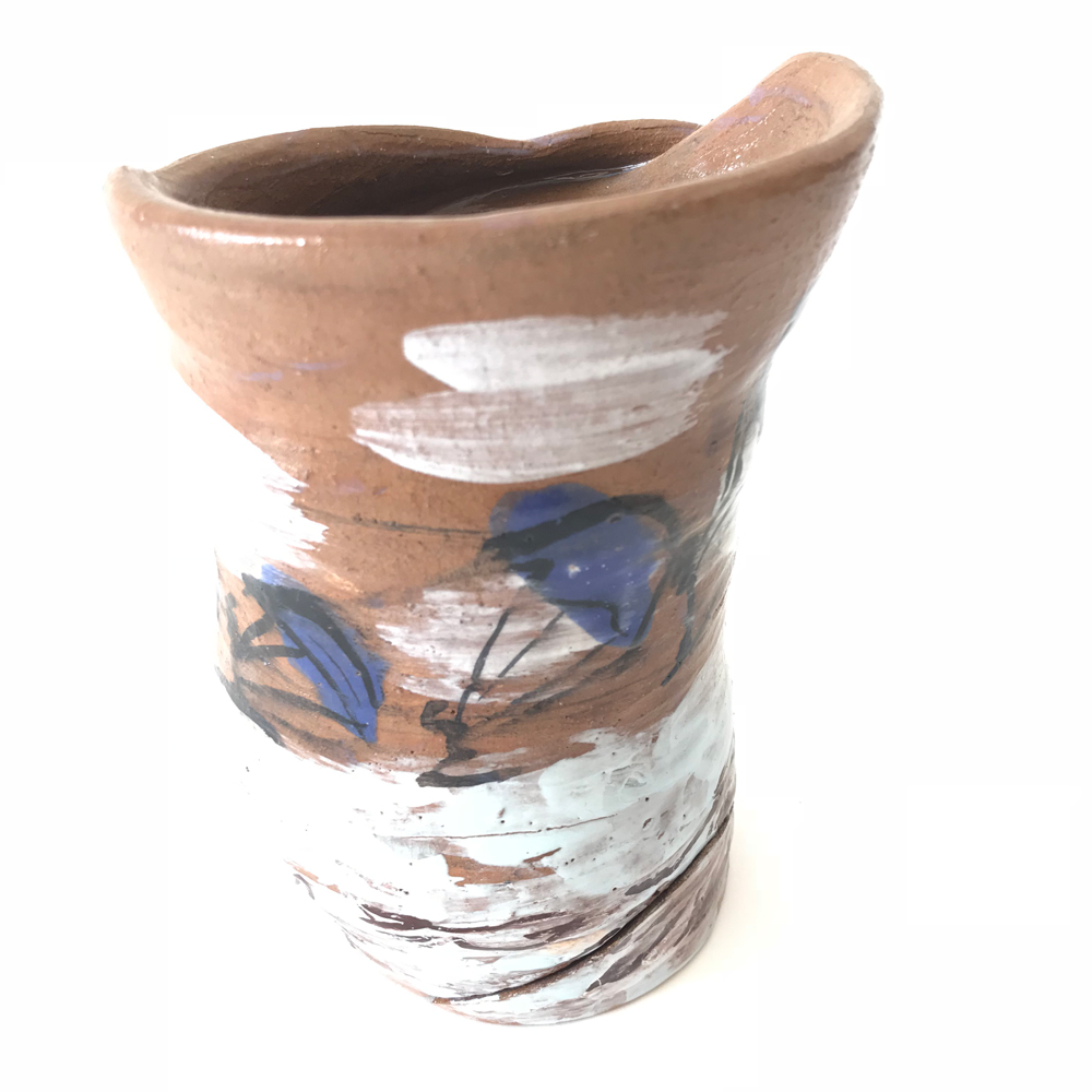 Pottery vase with blue and white abstract art